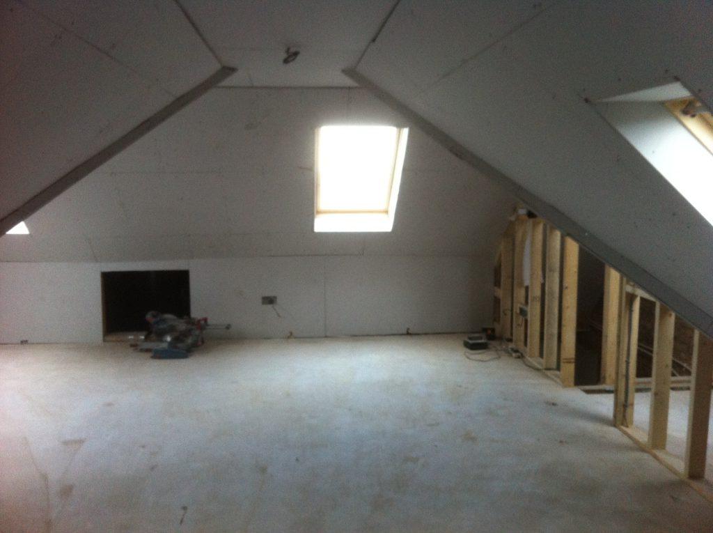 New loft room before plastering