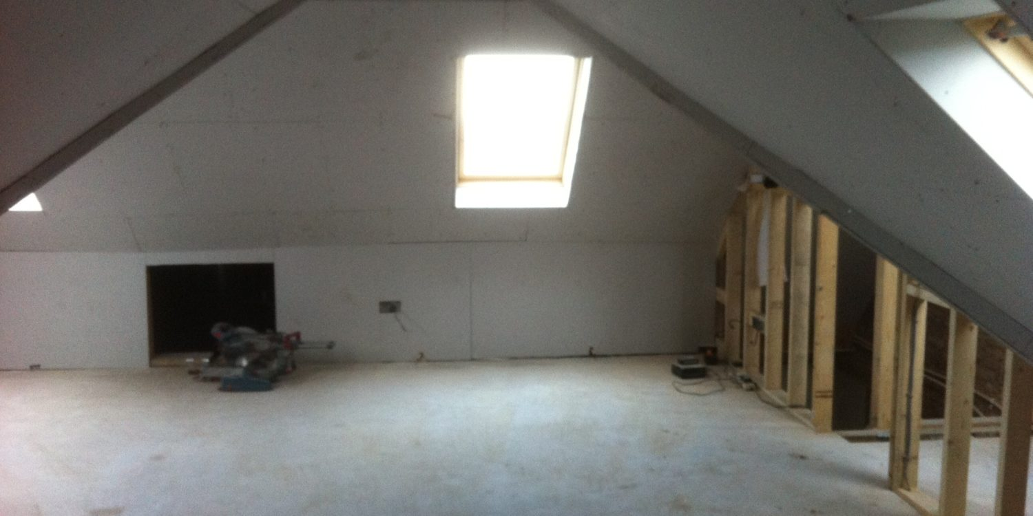 New loft room before plastering
