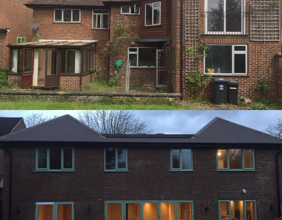 Before and after of large rear extension in Hertfordshire