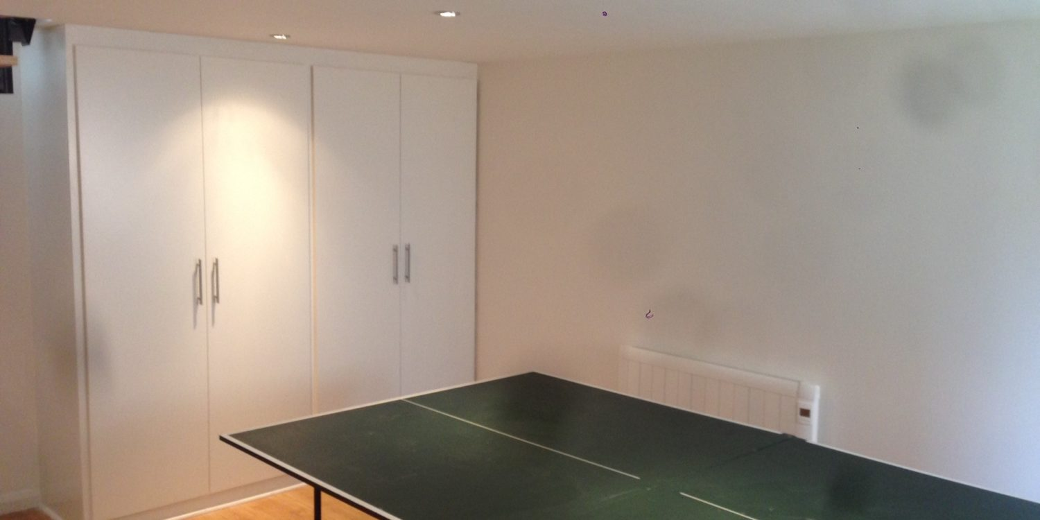 Fitted basement storage cupboards