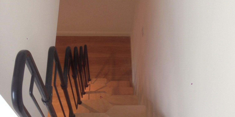 View down modern basement stairs