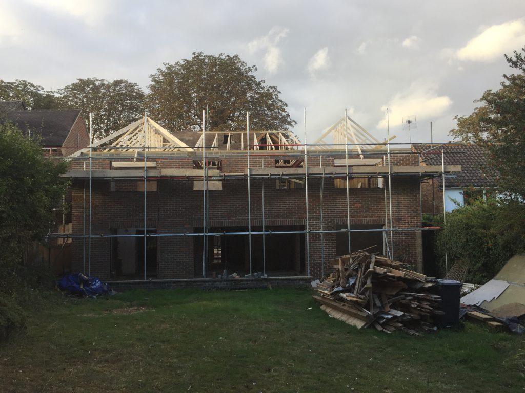 Roof on rear extension in progress
