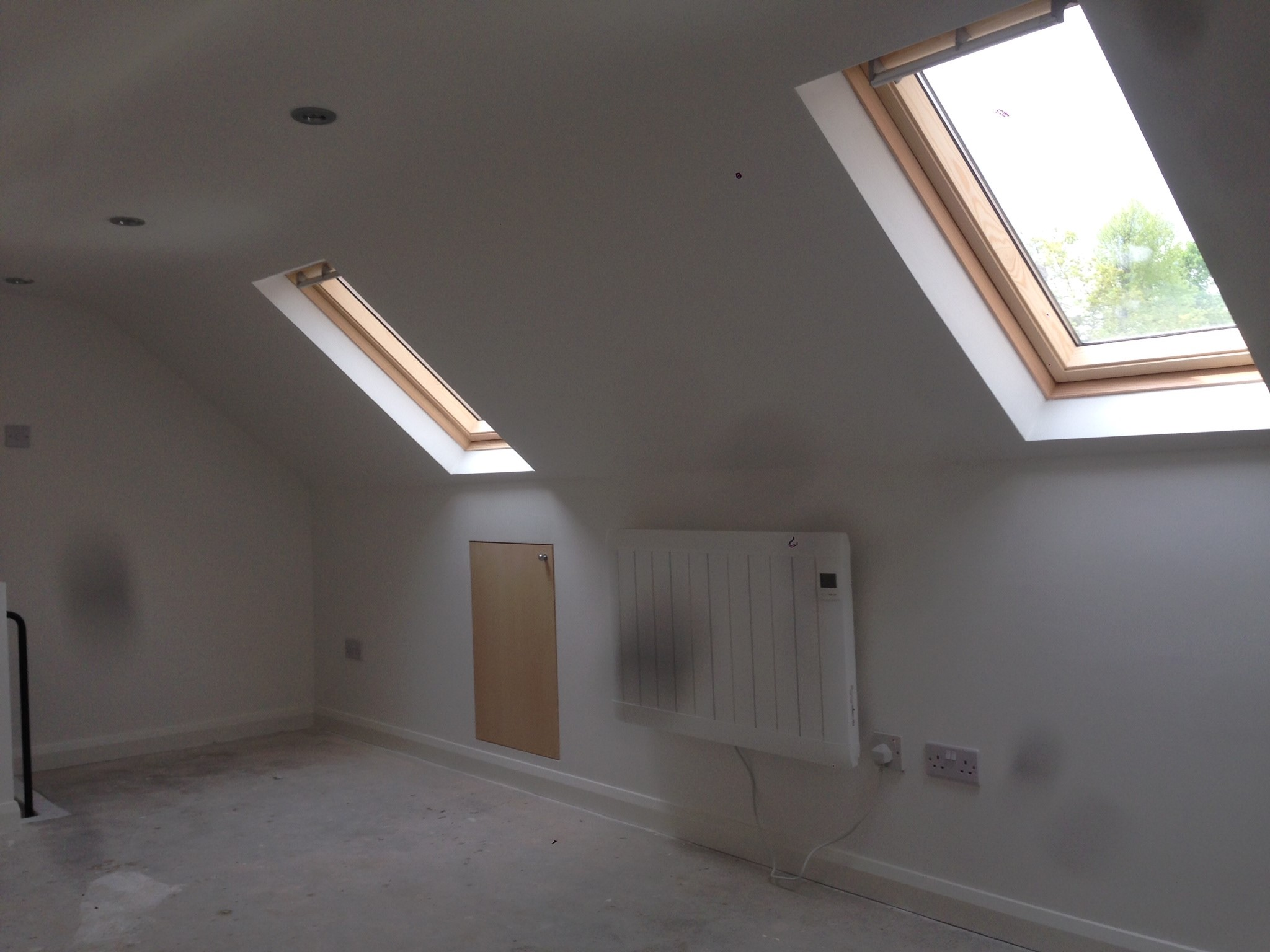 Skylights in newly converted loft